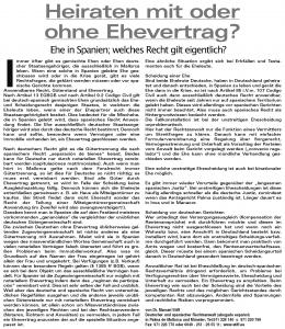 """22.02.2007 MallorcaZeitung Sonderbeilage: Heiraten auf Mallorca """"Heiraten in Spanien mit oder ohne Ehevertrag?"""""""