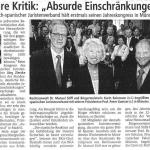 """16.06.2006 Münsterische Zeitung """"Klare Kritik: Absurde Einschränkungen"""""""